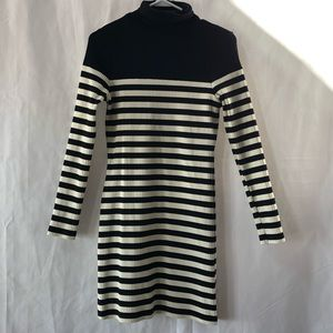Topshop Turtleneck Long Sleeve Stripe Dress